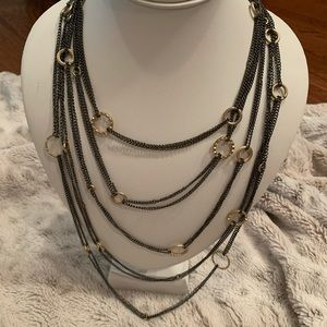 Jewelry - Gunmetal and gold multi chain necklace